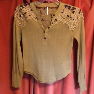 Free People thermal embroidered crochet Henley.